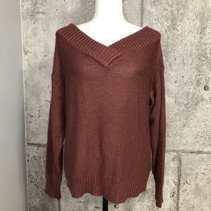 Design Lab Lord & Taylor Knitted V neck Sweater